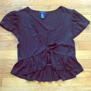 NWOT black ruffle crop top